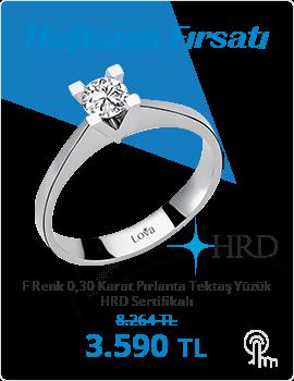 F Renk 0,30 Karat Pırlanta Tektaş Yüzük - HRD Sertifikalı (Haftanın Fırsatı - Son Gün 7 Mart Pazar)