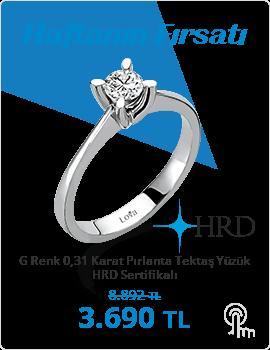 G Renk 0,31 Karat Pırlanta Tektaş Yüzük - HRD Sertifikalı (Haftanın Fırsatı - Son Gün 8 Ağustos Pazar)
