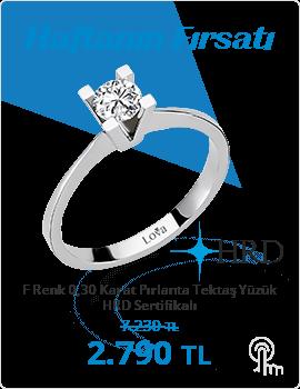 F Renk 0,30 Karat Pırlanta Tektaş Yüzük - HRD Sertifikalı (Haftanın Fırsatı - Son Gün 8 Aralık Pazar)