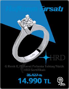 G Renk 0,70 Karat Pırlanta Tektaş Yüzük - HRD Sertifikalı (Haftanın Fırsatı - Son Gün 8 Ağustos Pazar)