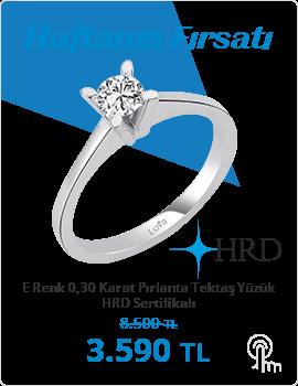 E Renk 0,30 Karat Pırlanta Tektaş Yüzük - HRD Sertifikalı (Haftanın Fırsatı - Son Gün 29 Kasım Pazar)