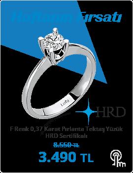 F Renk 0,37 Karat Pırlanta Tektaş Yüzük - HRD Sertifikalı (Haftanın Fırsatı - Son Gün 17 Kasım Pazar)