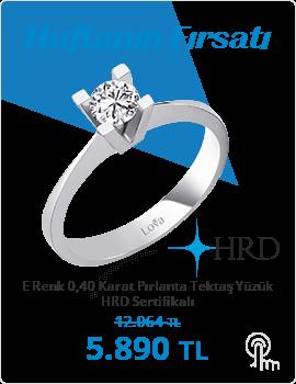 E Renk 0,40 Karat Pırlanta Tektaş Yüzük - HRD Sertifikalı (Haftanın Fırsatı - Son Gün 18 Nisan Pazar)