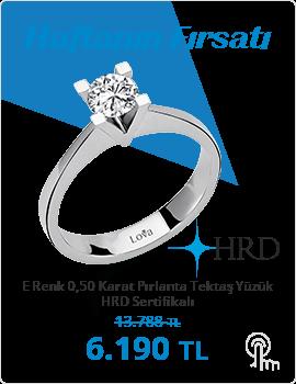 E Renk 0,50 Karat Pırlanta Tektaş Yüzük - HRD Sertifikalı (Haftanın Fırsatı - Son Gün 20 Ekim Pazar)