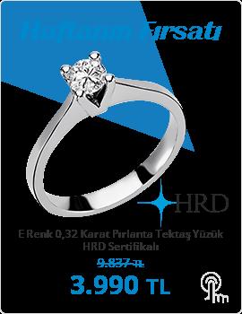 E Renk 0,32 Karat Pırlanta Tektaş Yüzük - HRD Sertifikalı (Haftanın Fırsatı - Son Gün 24 Ekim Pazar)