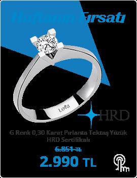 G Renk 0,30 Karat Pırlanta Tektaş Yüzük - HRD Sertifikalı (Haftanın Fırsatı - Son Gün 25 Kasım Pazar)