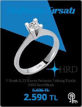 F Renk 0,23 Karat Pırlanta Tektaş Yüzük - HRD Sertifikalı (Haftanın Fırsatı - Son Gün 24 Ocak Pazar)