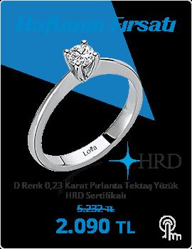 D Renk 0,23 Karat Pırlanta Tektaş Yüzük - HRD Sertifikalı (Haftanın Fırsatı - Son Gün 25 Ağustos Pazar)
