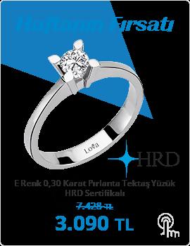 E Renk 0,30 Karat Pırlanta Tektaş Yüzük - HRD Sertifikalı (Haftanın Fırsatı - Son Gün 26 Mayıs Pazar)