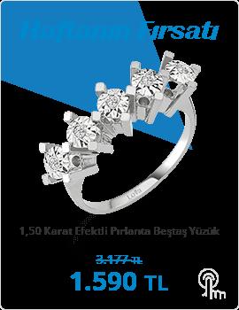 1,50 Karat Efektli Pırlanta Beştaş Yüzük (Haftanın Fırsatı - Son Gün 24 Ekim Pazar)