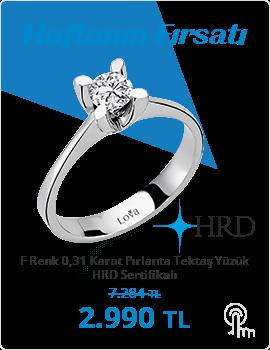F Renk 0,31 Karat Pırlanta Tektaş Yüzük - HRD Sertifikalı (Haftanın Fırsatı - Son Gün 27 Ekim Pazar)