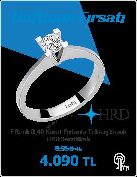 E Renk 0,40 Karat Pırlanta Tektaş Yüzük - HRD Sertifikalı (Haftanın Fırsatı - Son Gün 30 Haziran Pazar)