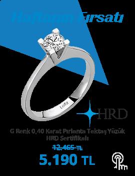 G Renk 0,40 Karat Pırlanta Tektaş Yüzük - HRD Sertifikalı (Haftanın Fırsatı - Son Gün 3 Ekim Pazar)