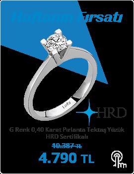 G Renk 0,40 Karat Pırlanta Tektaş Yüzük - HRD Sertifikalı (Haftanın Fırsatı - Son Gün 4 Ekim Pazar)