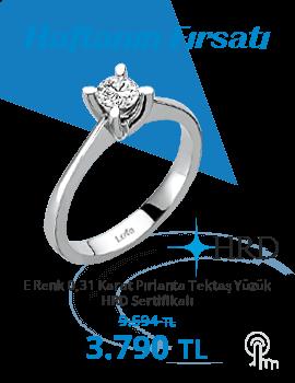 E Renk 0,31 Karat Pırlanta Tektaş Yüzük - HRD Sertifikalı (Haftanın Fırsatı - Son Gün 3 Ekim Pazar)