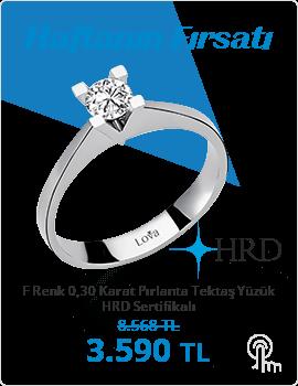 F Renk 0,30 Karat Pırlanta Tektaş Yüzük - HRD Sertifikalı (Haftanın Fırsatı - Son Gün 6 Aralık Pazar)